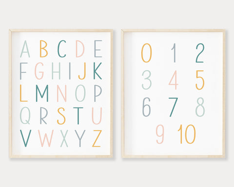 Pastel ABC 123 Printable Wall Art, Digital Download