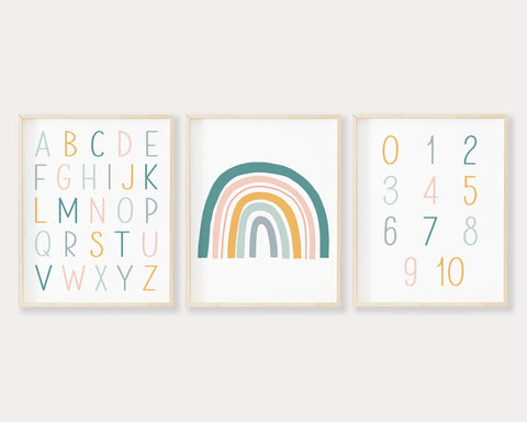 Pastel ABC 123 Rainbow Printable Wall Art Set of 3, Digital Download