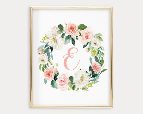 Watercolor Blush Floral Letter E Printable Wall Art, Digital Download