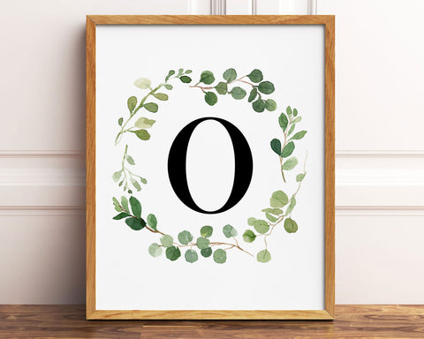 Greenery Letter O Printable Wall Art, Digital Download