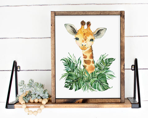 Safari Giraffe Jungle Printable Wall Art, Digital Download