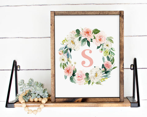 Watercolor Blush Floral Initial S Printable Wall Art, Digital Download
