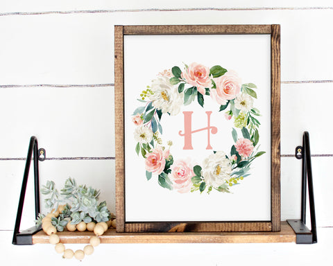 Watercolor Blush Floral Initial H Printable Wall Art, Digital Download