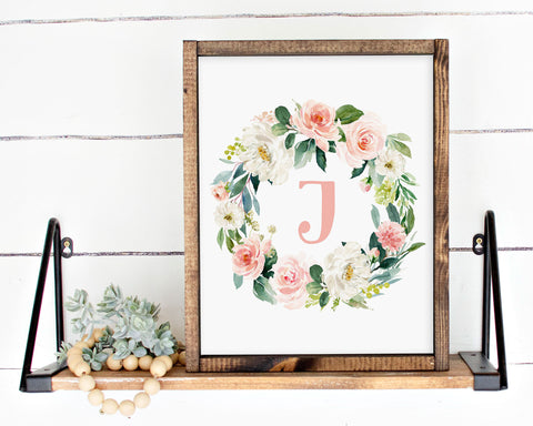 Watercolor Blush Floral Initial J Printable Wall Art, Digital Download