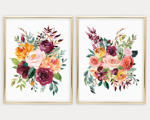 Watercolor Burgundy Flowers Printable Wall Art, Digital Download