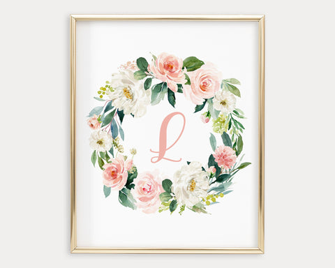 Watercolor Blush Floral Letter L Printable Wall Art, Digital Download