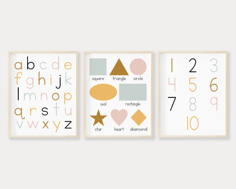 Lowercase ABC 123 Shapes Printable Wall Art, Digital Download