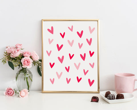 Valentine Hearts Printable Wall Art, Digital Download