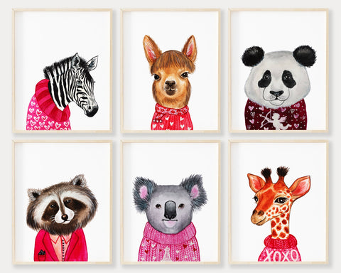 Valentine Animals Set of 6 Printable Wall Art, Digital Download