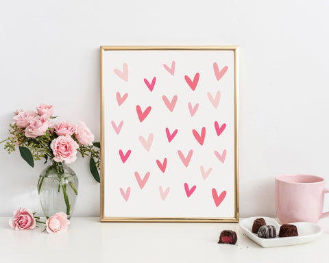 Pink Hearts Printable Wall Art, Digital Download