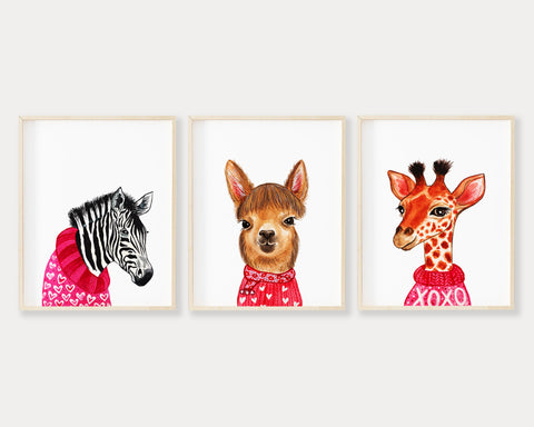 Valentine Animals Set of 3 Printable Wall Art, Digital Download