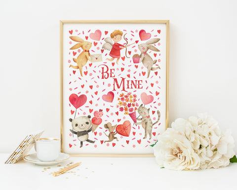 Be Mine Printable Wall Art, Digital Download