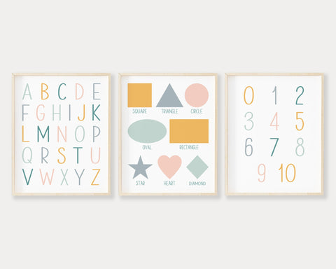 Pastel ABC 123 Shapes Printable Wall Art Set of 3, Digital Download