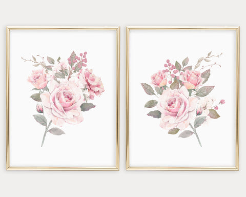 Watercolor Pink Rose Printable Wall Art, Digital Download
