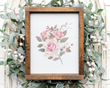 Watercolor Pink Rose Set of 2 Printable Wall Art, Digital Download