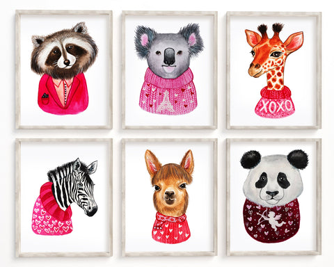 Animal Valentines Day Set of 6 Printable Wall Art, Digital Download