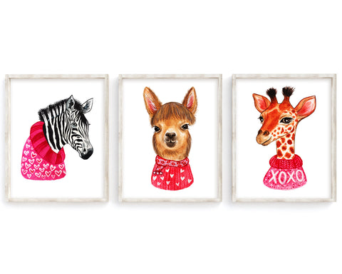 Animal Valentines Day Set of 3 Printable Wall Art, Digital Download