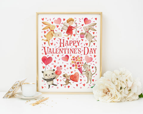 Happy Valentines Day Printable Wall Art, Digital Download