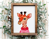 Valentine Giraffe Printable Wall Art, Digital Download