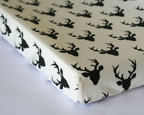 Buck Forest Night Changing Pad Cover or Fitted Crib Sheet