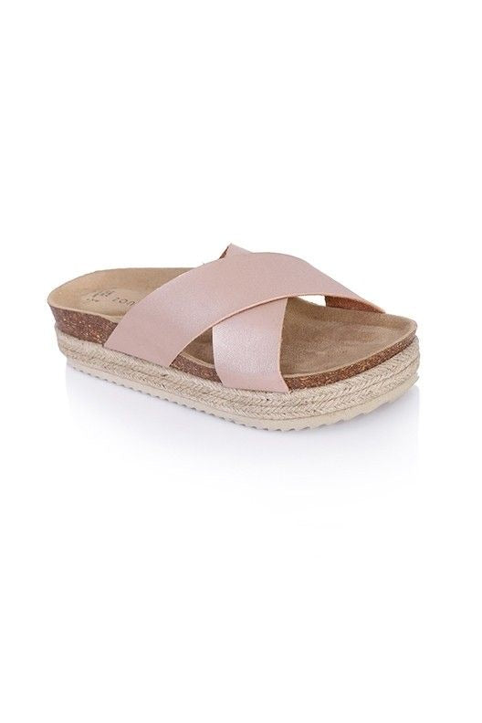 NEW Season Matte Metalic Crossover Slider with Espadrille Style Sole