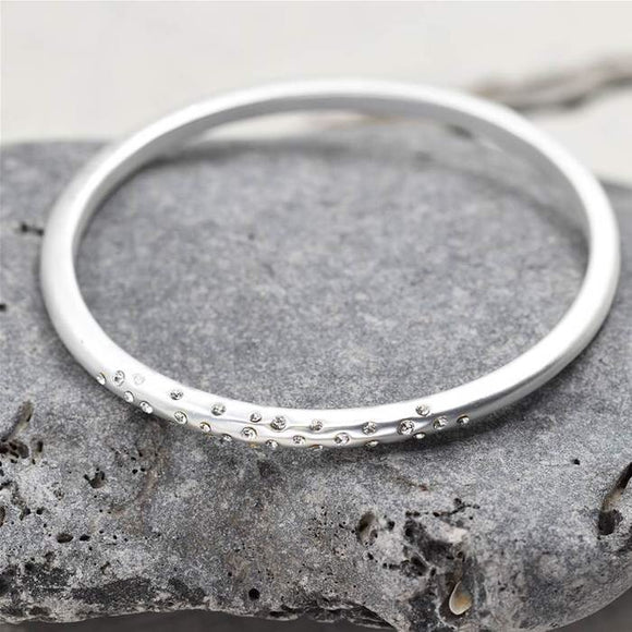 Silver sparkle Bangle Bracelet - Chic Accessory