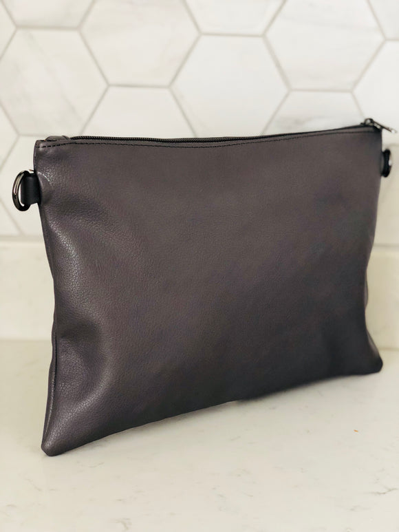 Grey Large Clutch Bag - Chic Accessory