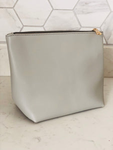 Grey Zip Detail Clutch Bag - Chic Accessory