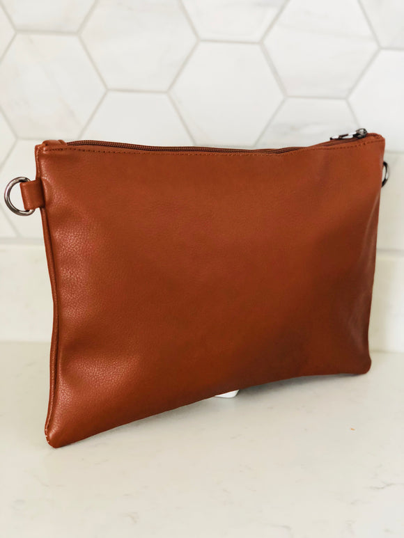 Tan Large Clutch Bag - Chic Accessory