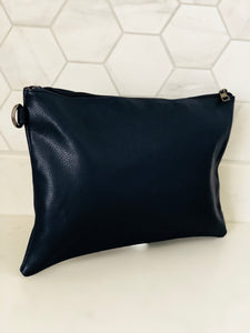 Navy Large Clutch Bag - Chic Accessory