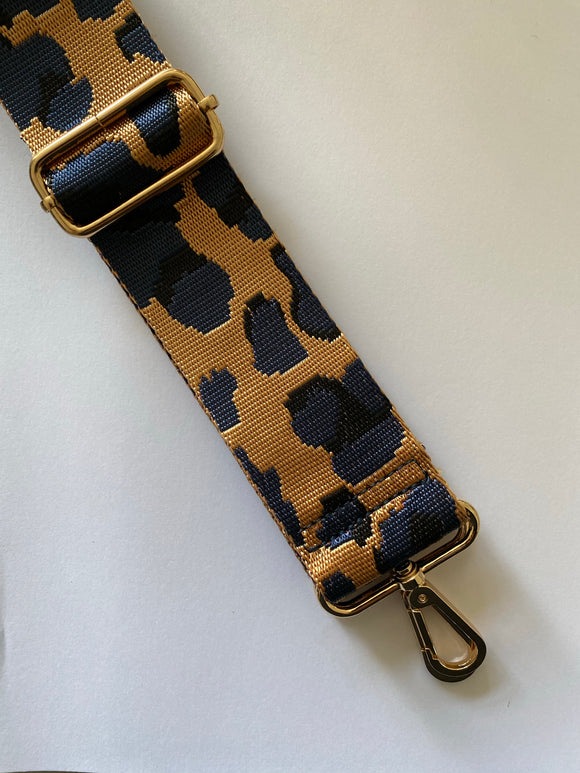 New Season Camel and Navy Leopard Bag Strap