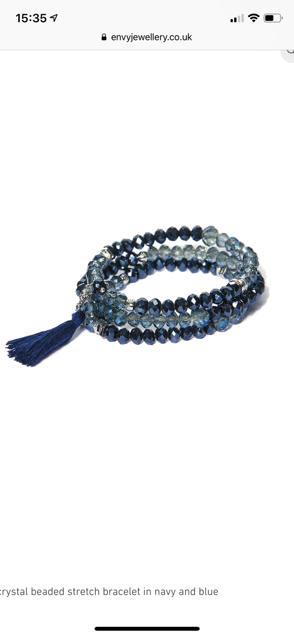 New Three Tier Bead Bracelet - Blue