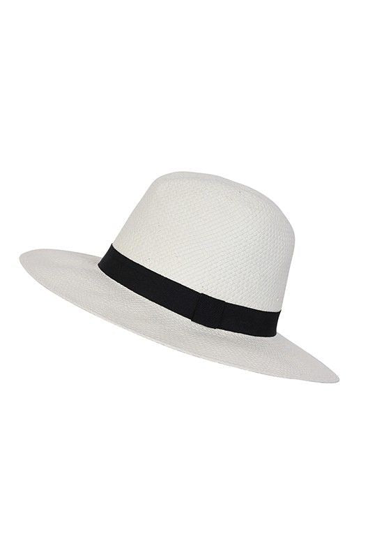 NEW Season Panama Woven Hat with Black Band