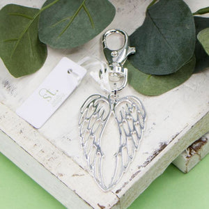 New Angel Wings Keyring - Silver