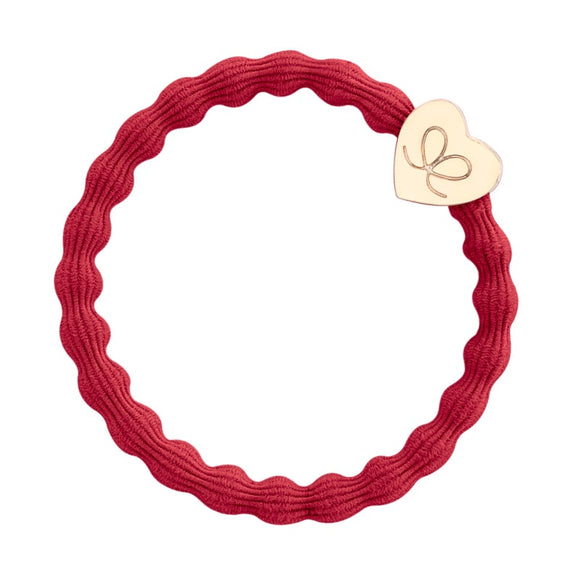Gold Heart Band - Cherry Red