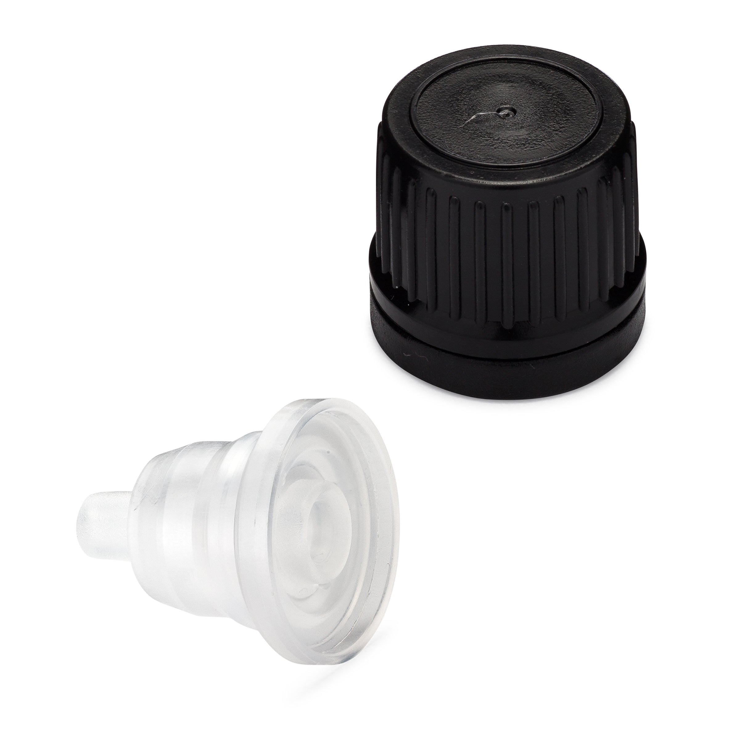 Tamper Evident EuroDrop Cap assembled to 1.00mm Horizontal Dropper Insert