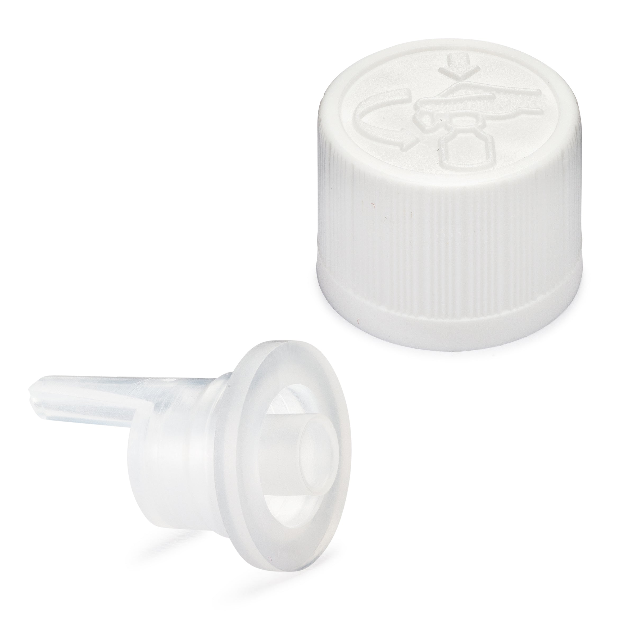Child Resistant EuroDrop Cap assembled to 1.00mm Vertical Dropper Insert