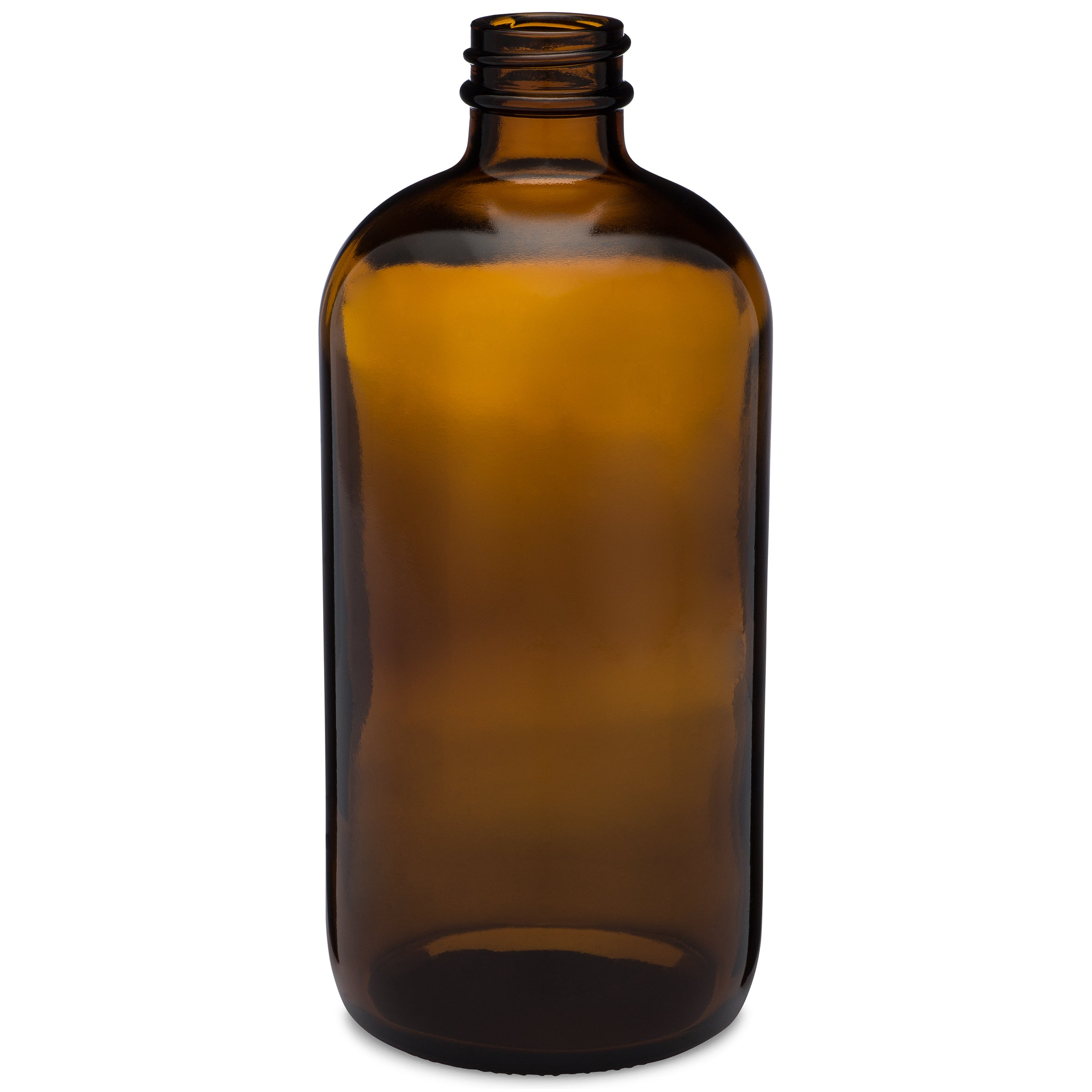 16oz/480ml Amber Boston Round Bottle