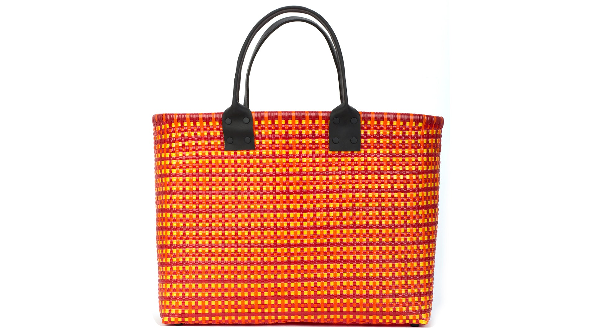 TRUSS Large Tote Leather Handle w/Pocket in Red/Yellow/Orange