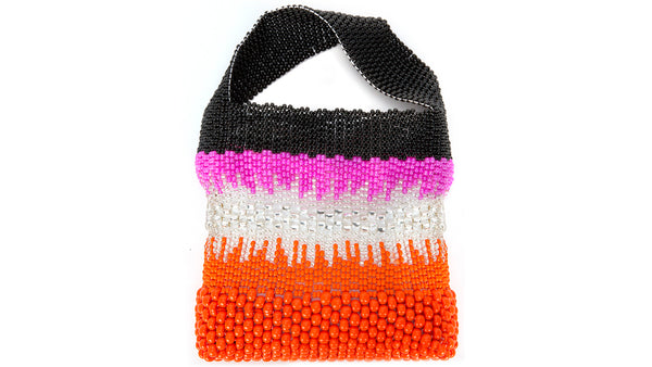 TRUSS Beaded Party Bag in Pink & Orange