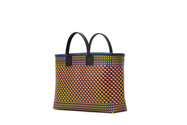 TRUSS Large Tote W/Leather Handle in Yellow, Red, Blue