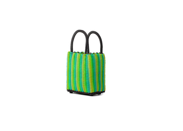 TRUSS Micro Tubeweave Tote in Green/Yellow/Cyan