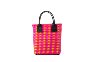 TRUSS Small Tote Leather Handle w/Pocket in Pink & Orange