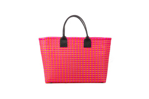 TRUSS Large Tote Leather Handle w/Pocket in Pink & Orange