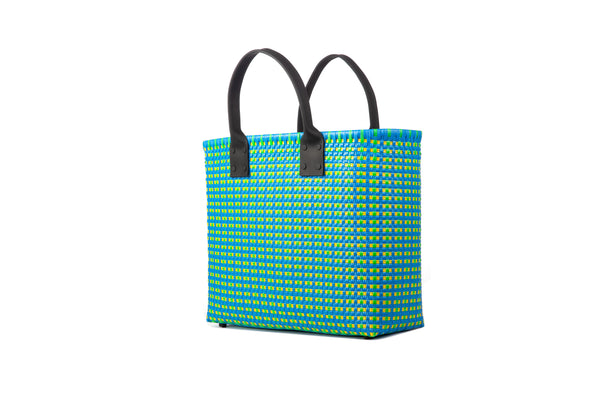 TRUSS Large Tote Leather Handle w/Pocket in Turquoise, Yellow & Green