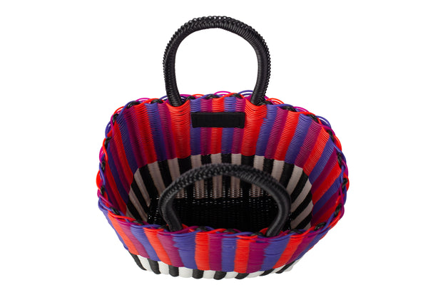 TRUSS Small Tubeweave Tote in Half Blk/White & Pink/Orange/Purple