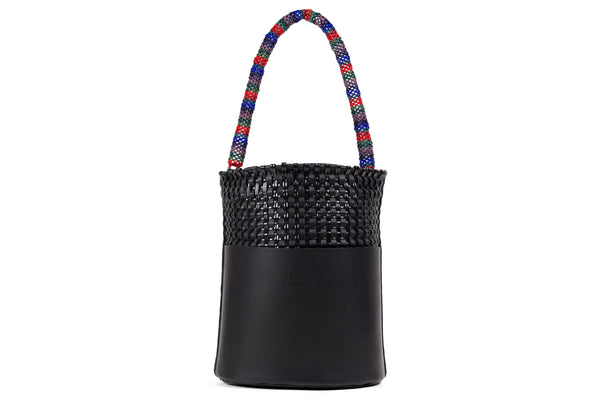 TRUSS Medium Leather Bucket w/ External Pocket & Bead Strap