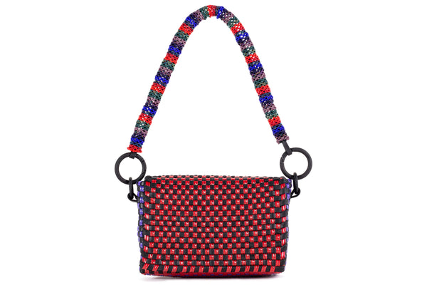 TRUSS Woven Leather Baguette w/ Bead Strap in Red