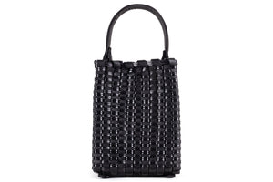 TRUSS Small Woven Leather Trapezoid in Black