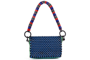 TRUSS Woven Leather Baguette w/ Bead Strap in Navy